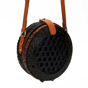 round black rattan bag travel style edgability full view