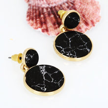 black marble print drop earrings angle view edgability