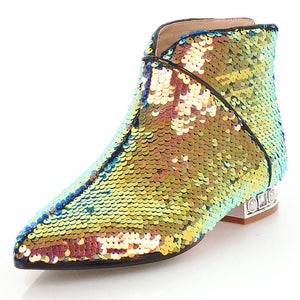metallic gold sequins ankle boots edgability