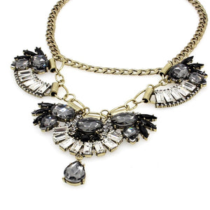 floral necklace crystal statement necklace edgability aerial view