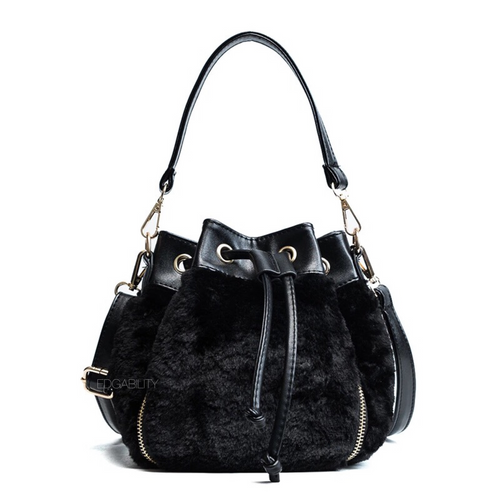 fur bag black bag drawstring bag edgability