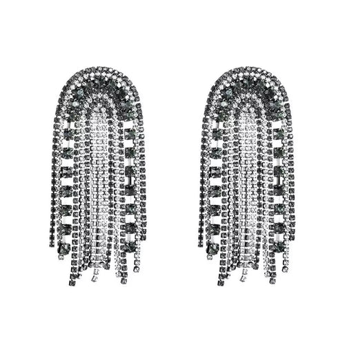 black and silver crystals dangler statement jewelry edgability
