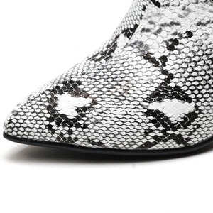 snakeskin boots ankle boots heeled boots edgability detail view