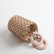 bucket bag basket drawstring bag pink bag edgability top view