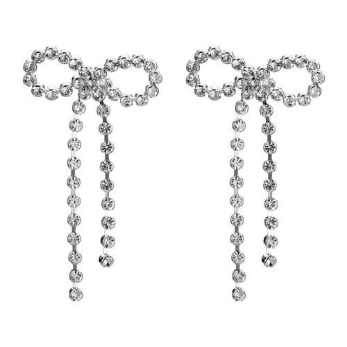 diamonte crystal bow earrings statement jewelry edgability