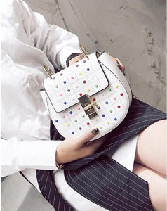 multicoloured studded bag classy bag edgability model view