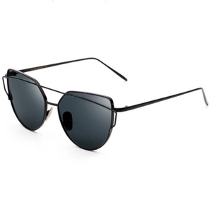 black sunglasses with black double frames angle view edgability