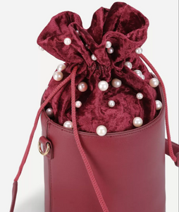 pearl studded bucket bag edgability top view