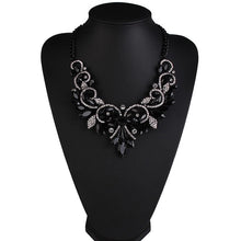 floral statement jewelry black necklace edgability size view