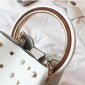 studded bag bucket bag white bag edgability handle view