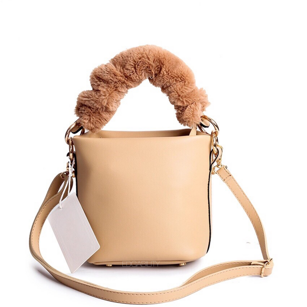 bucket bag fur bag brown bag edgability
