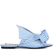 stripes blue flats with knots side view edgability