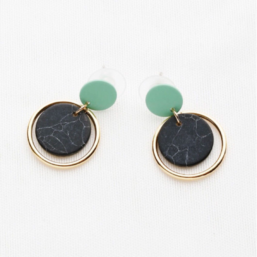 green drop black marble earrings with golden hoop edgability