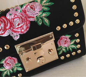 embroidered studded bag in black edgability detail view