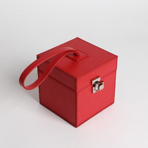 classy red leather box bag edgability top view