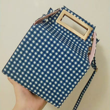 box bag checkered bag sling bag blue bag edgability size view