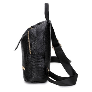 black mini backpack croc skin bag edgability side view