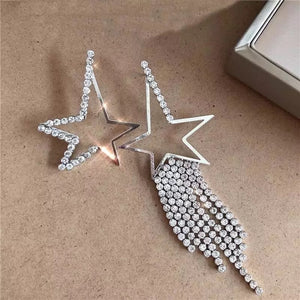 silver diamond rhinestones studded star earrings edgability top view
