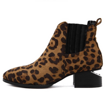 leopard print booties with cut heel edgability side view