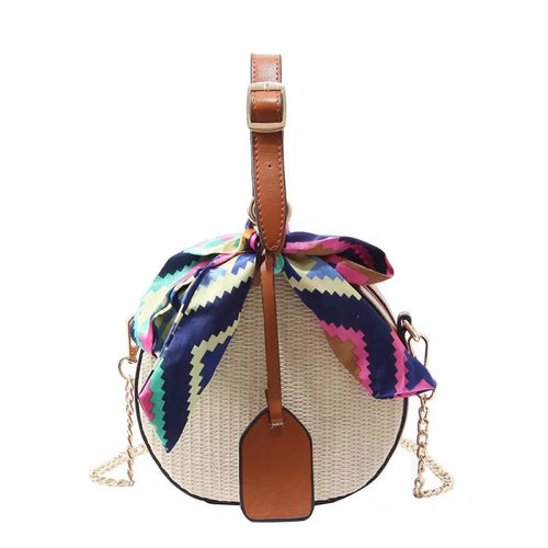 straw rattan bag brown box bag with scarf edgability front view