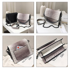 grey ombre snakeskin sling bag with chain edgability detail view