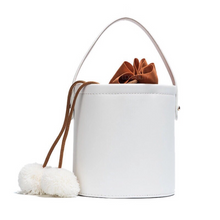 pom pom white bucket bag edgability