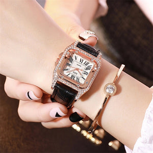 classic vintage black wrist watch with diamond studs edgability model view