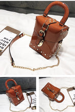 patent leather box bag studded bag sling bag edgability detail view
