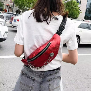 metallic red belt bag bum bag waist bag edgability model view