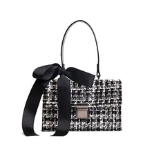 black and white tweed bag sling bag with bow edgability