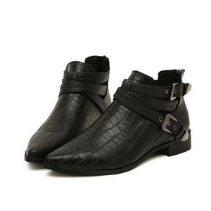 flat croc skin black boots edgability front view