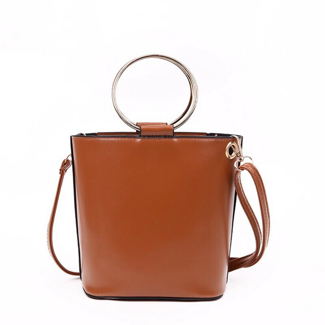 brown bucket bag with ring handle edgability