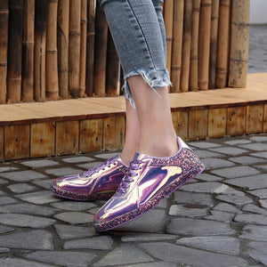 chrome metallic sneakers purple glitter trainers edgability model view