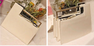 geometric classy white bag with gold handle edgability detail view
