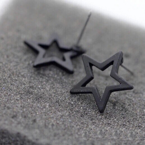 black star frame earrings studs edgability