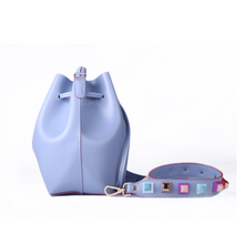 lavender studded bag bucket bag edgability side view