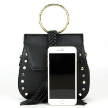 studded black bag with tassels size view edgability