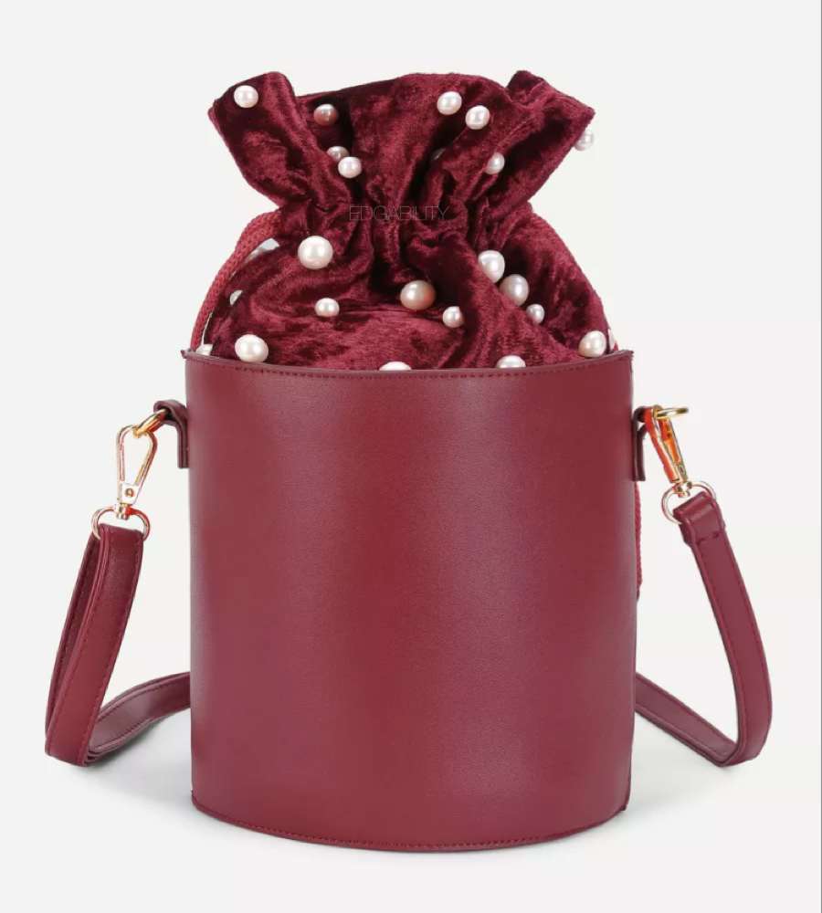 pearl studded bucket bag edgability
