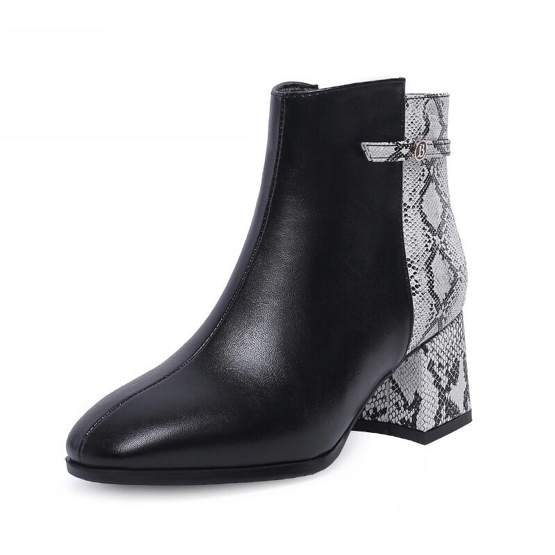 black boots ankle boots snakeskin boots with block heels edgability