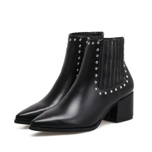 black studded ankle boots with block heel edgability angle view
