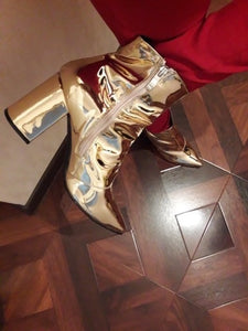 gold booties metallic boots ankle boots edgability model view