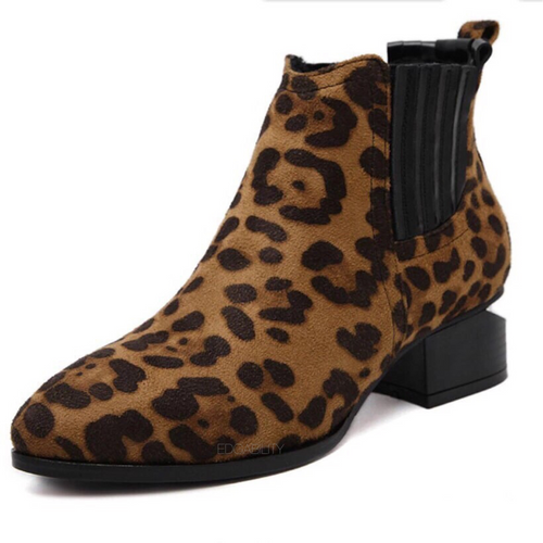 leopard print booties with cut heel edgability