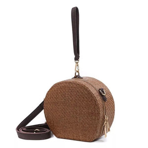 rattan bag round bag box bag wristlet with scarf edgability front view