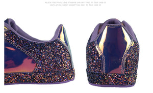 chrome metallic sneakers purple glitter trainers edgability back view