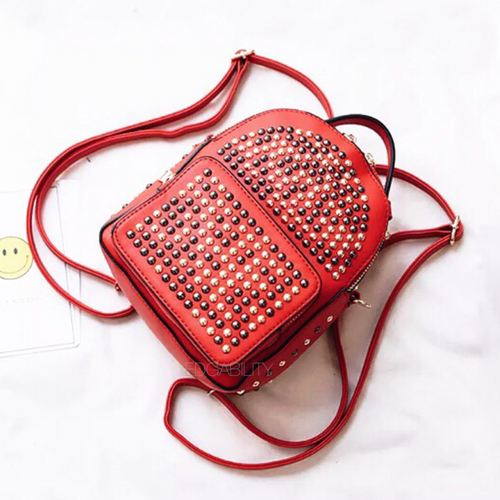gunmetal gold studded red backpack edgability