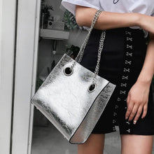 silver bag sling bag edgy fashion edgability model view