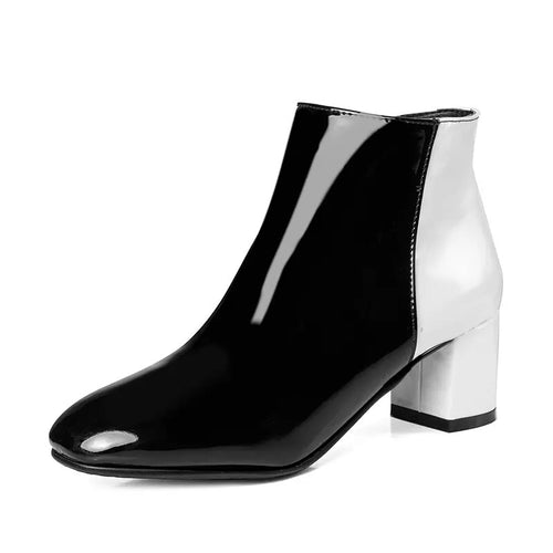 black white ankle boots dual color trendy shoes edgability