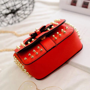 studded bag party bag red bag edgability bottom view