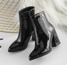 patent leather boots black boots ankle boots edgability top view