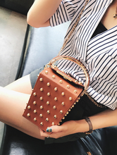 studded bag box bag tan bag edgability model view